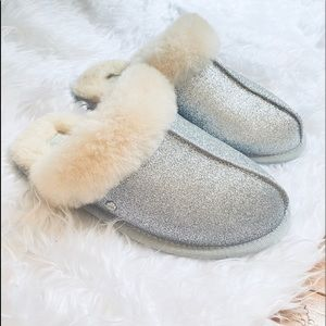 UGG Scuffette Silver Sparkle Slippers size 6 & 7